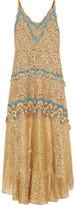 Peter Pilotto Crochet-trimmed Metallic Lace Gown - UK10