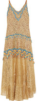 Peter Pilotto Crochet-trimmed Metallic Lace Gown - UK8