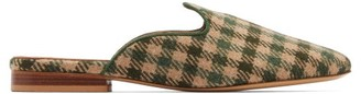 Giuliva Heritage Collection X Le Monde Beryl Venetian Houndstooth-wool Mules - Green Multi