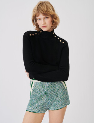 Maje Cashmere sweater with stand-up collar