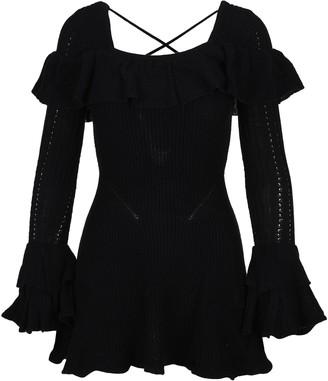 Self-Portrait Square Neckline Cable Knit Dress