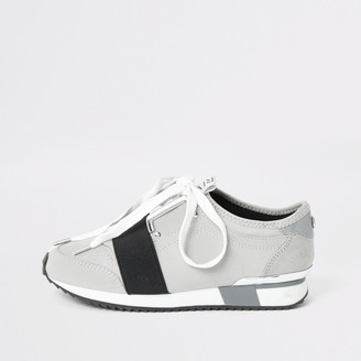 River Island Girls Grey elasticated lace-up trainers