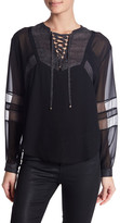 The Kooples Lace Up Pattern Block Blouse