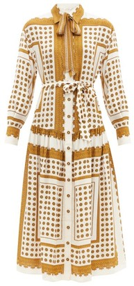 Zimmermann Sash-neck Polka-dot Twill Shirt Dress - Brown Print
