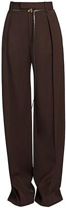 Bottega Veneta Belted Pleat-Front Wool Pants