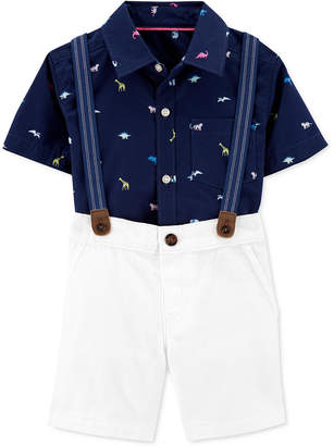 Carter's Carter Toddler Boys 3-Pc. Dinosaur-Print Shirt, Solid Shorts & Suspenders Set