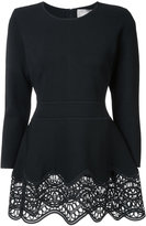 Lela Rose embroidered peplum blouse