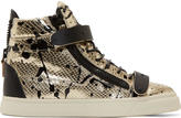 Giuseppe Zanotti Gold and Black Spattered Snakeskin London Miro Sneakers