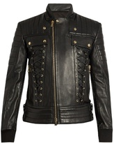 Balmain Lace-panel leather jacket