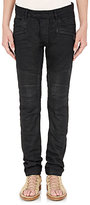 Balmain Men's Waxed Denim Slim Moto Jeans-BLACK