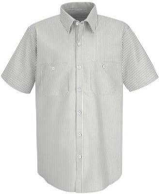 Red Kap Men's Short Sleeve Industrial Stripe Work Shirt