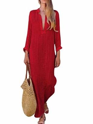 Hertsen Women's Kaftan Cotton Long Sleeve Plain Casual Oversized Maxi Long Shirt Dresses