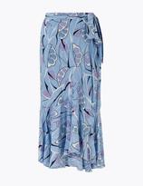 Per Una UsMarks and Spencer Printed Ruffle Midi Wrap Skirt