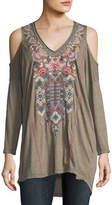 Johnny Was Nindi Cold-Shoulder Embroidered Top, Plus Size