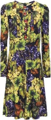 Dolce & Gabbana Button-embellished Printed Stretch-crepe Dress