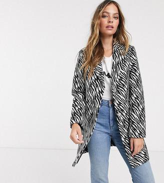 Miss Selfridge Petite slim coat in zebra