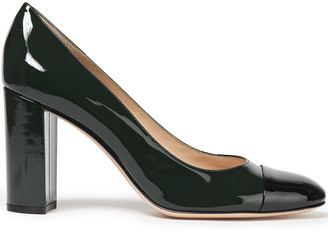 Gianvito Rossi Langley 85 Two-tone Patent-leather Pumps