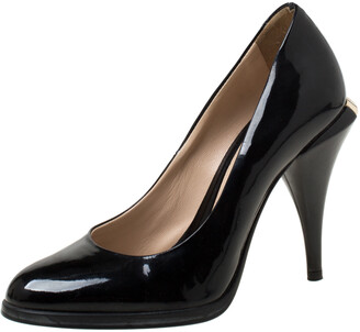 Fendi Black Patent Leather Logo Heel Pumps Size 35