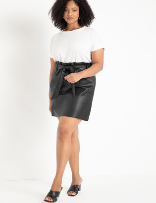 ELOQUII Faux Leather Mini Skirt with Belt