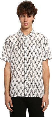 Neil Barrett All Over Logo S/s Lyocell Poplin Shirt