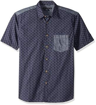 French Connection Men's Short Sleeve Printed Regular Fit Button Down Shirt