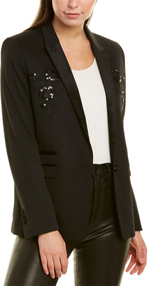 The Kooples Stretch Smocking Wool-Blend Suit Blazer