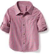 Old Navy Plaid Poplin Rolled-Sleeve Shirt for Toddler