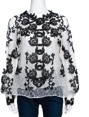 Oscar de la Renta Monochrome Floral Lace Long Sleeve Blouse L