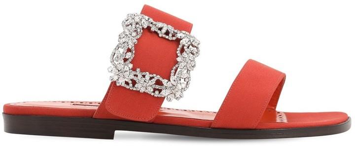 Thumbnail for your product : Manolo Blahnik 10mm Titubaflat Crepe De Chine Sandals