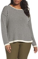 Eileen Fisher Plus Size Women's Stripe Cotton Blend Knit Top