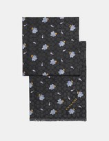 Coach Signature Floating Leaves Print Oblong Scarf