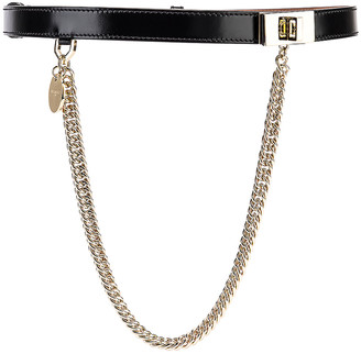Givenchy Turnlock Chain Leather Belt in Black | FWRD