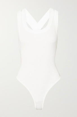 The Line By K Suki Ribbed Stretch-cotton Jersey Thong Bodysuit - White