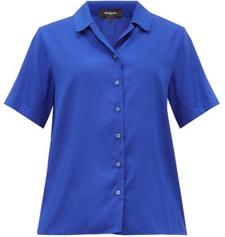 Rochas Notch-collar Silk-poplin Shirt - Womens - Blue