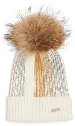 Bari Lynn Pom-Pom Striped Hat
