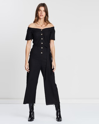 Miss Selfridge 3/4 Bardot Linen Blend Button-Through Jumpsuit