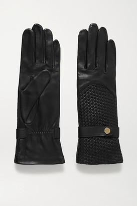 Agnelle Woven Leather Gloves - Black