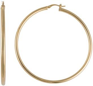 Silver Classics Gold Tone Sterling Silver Tube Hoop Earrings