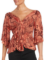 Free People Patterned Cold Shoulder Top
