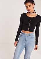 Missguided Lace Up Long Sleeve Crop Top Black