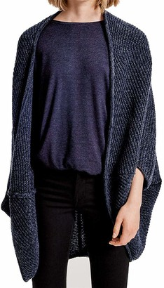 PULI Womens Cardigan Sweater Open Front Shawl Cape Casual Loose Fit Cocoon Silhouette 3/4 Batwing Sleeve Tops Blue