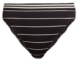 Solid & Striped The Bella Striped High Rise Bikini Briefs - Womens - Black Stripe