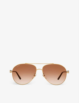 Cartier CT0233S Aviator gold-tone sunglasses