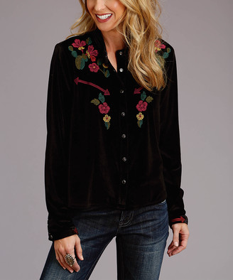 Stetson Women's Blouses BLACK - Black Embroidered Velvet Snap Button-Up - Women