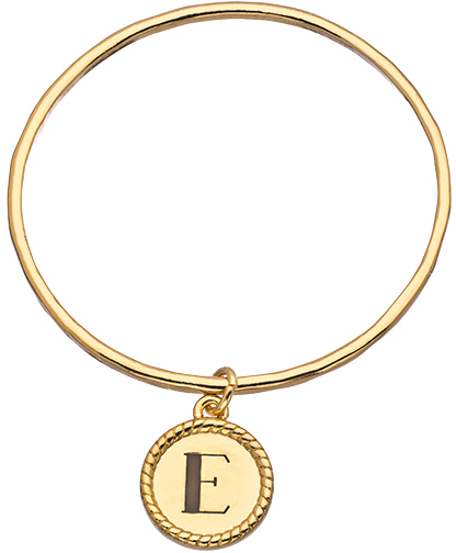 Lisa Stewart Gold Coventry Bangle Bracelet with Personalized Initial Drop