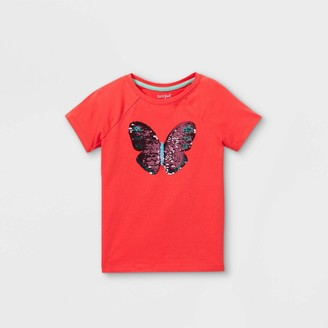 Cat & Jack Girls' Flip Sequin Butterfly Short Sleeve T-Shirt - Cat & JackTM