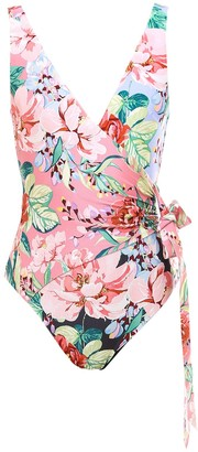 Zimmermann Floral Printed Wrap Swimsuit