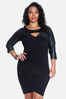 Fashion to Figure Trina Faux Leather Sleeve Dress