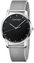 Calvin Klein City Gent Polished Ss Mesh Bracelet, Black Dial