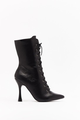 Nasty Gal Womens My Point of View Faux Leather Lace-Up Boots - Black